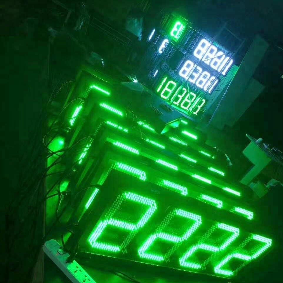 led price sign petrol gas station screen outdoor four