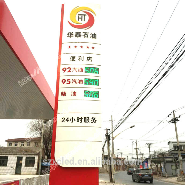 Outdoor gas station price signs display LED number display